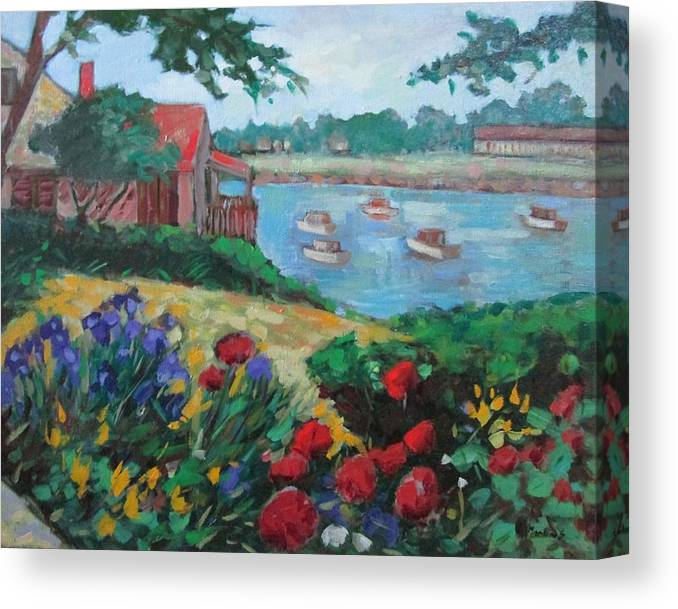 Ogunquit Canvas Print featuring the painting Boats in Ogunquit by Marilene Sawaf