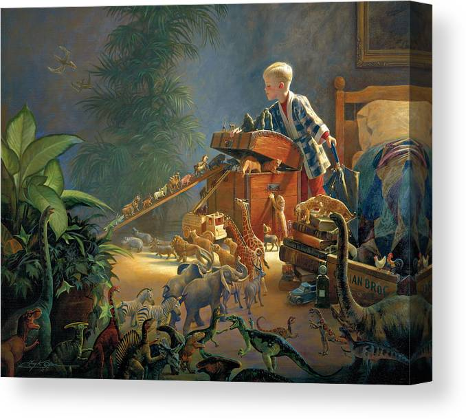 Noah's Ark Canvas Print featuring the painting Bon Voyage by Greg Olsen