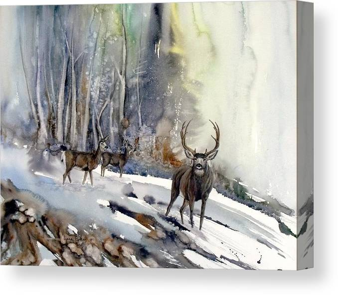 Mule Deer Canvas Print featuring the painting Boone and Crockett by Lynne Parker