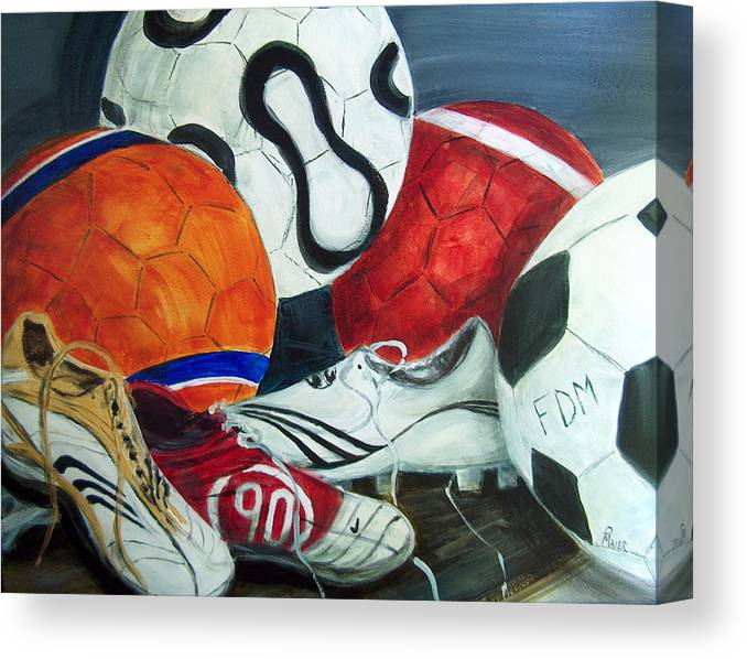 Soccer Canvas Print featuring the painting Boots N Balls by Pete Maier