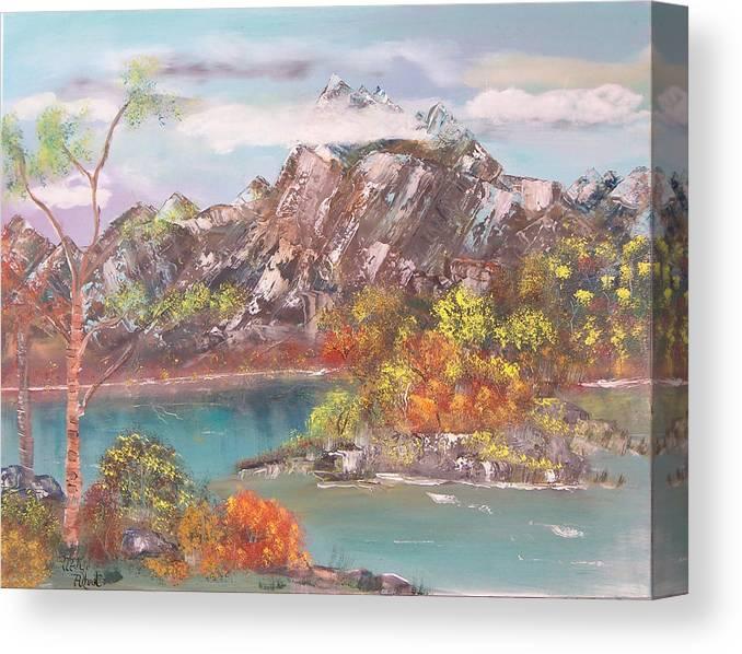 Landscape Canvas Print featuring the painting Burning Bush by Mikki Alhart