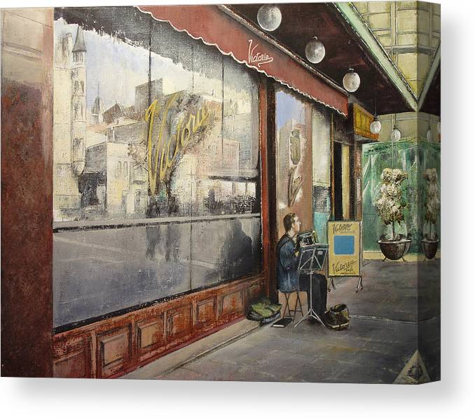 Cafe Canvas Print featuring the painting Cafe Victoria by Tomas Castano
