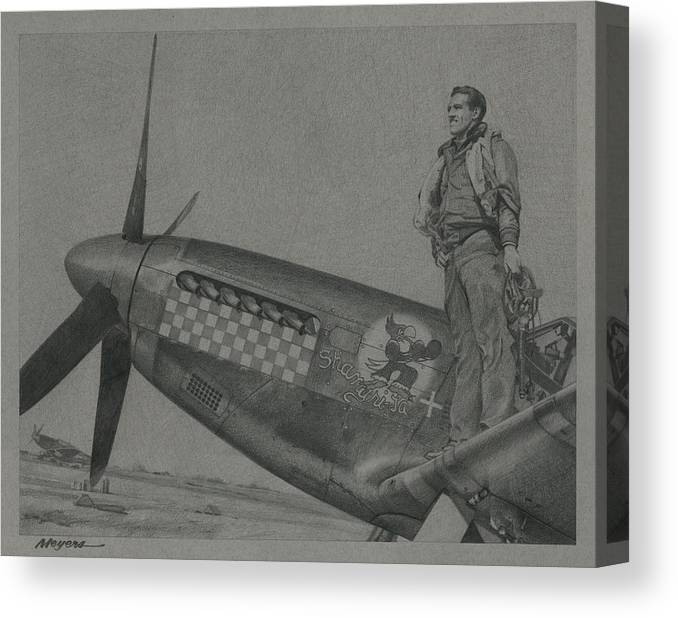 Aviation Art Canvas Print featuring the drawing Capt Don S Gentile 1944 by Wade Meyers