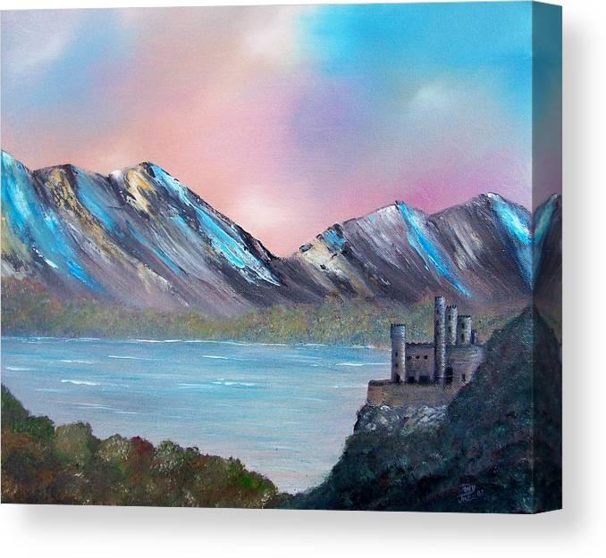 Landscape Canvas Print featuring the painting Castle Landscape by Tony Rodriguez