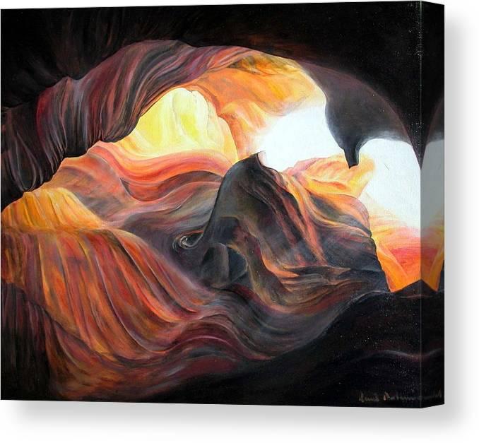Landscape Canvas Print featuring the painting Caverne by Muriel Dolemieux