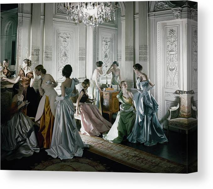 Antique Canvas Print featuring the photograph Charles James Gowns by Cecil Beaton