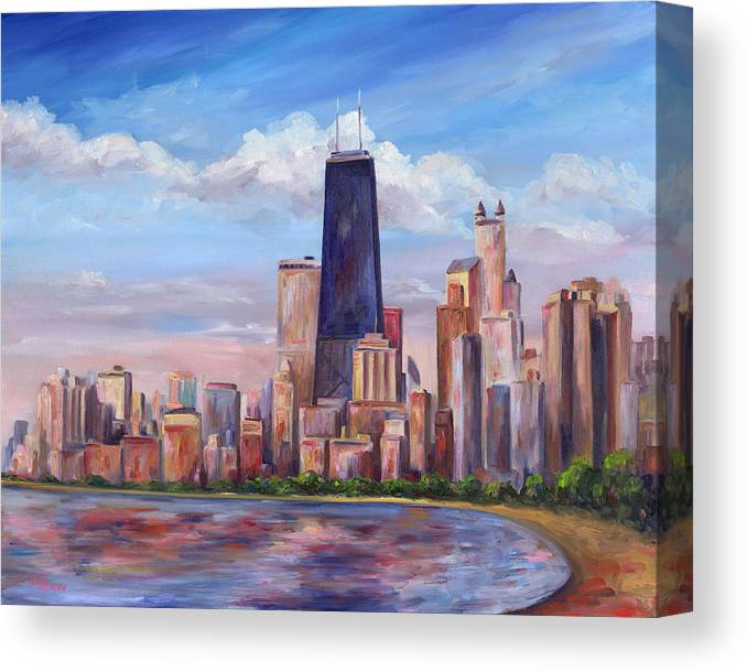 Chicago Canvas Print featuring the painting Chicago Skyline - John Hancock Tower by Jeff Pittman