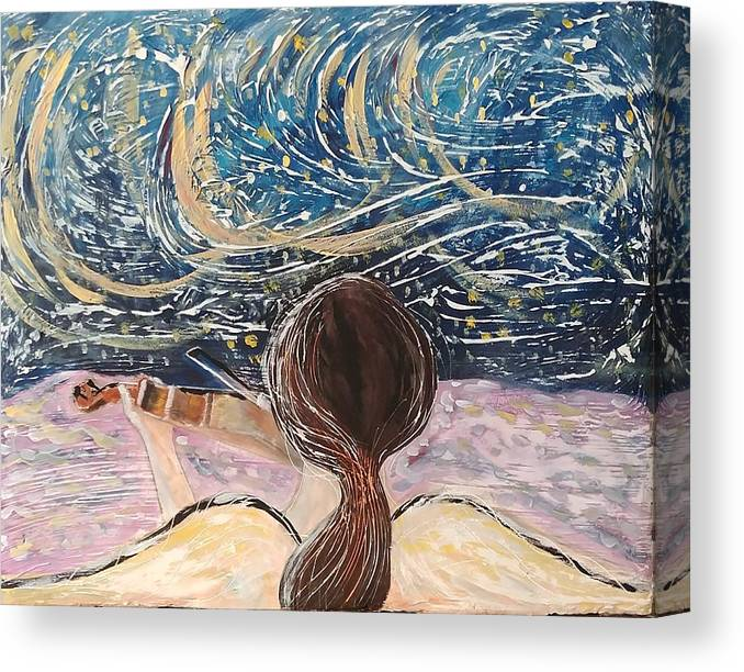 Angel Canvas Print featuring the painting christmas Eve and a Starry Night by J Bauer