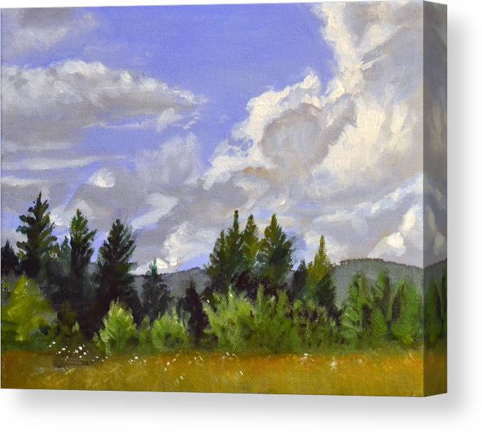 Clouds Canvas Print featuring the painting Clouds Over Lace by Mary Chant