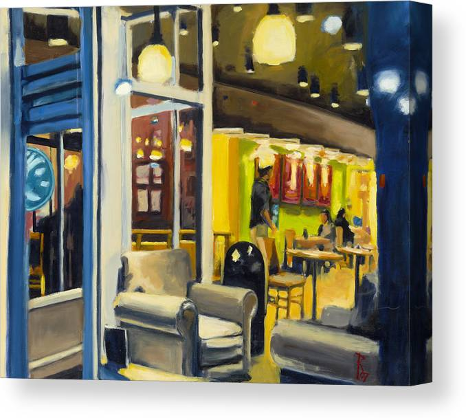 Oil Paint Canvas Print featuring the painting Coffee on 5th Ave by Robert Reeves