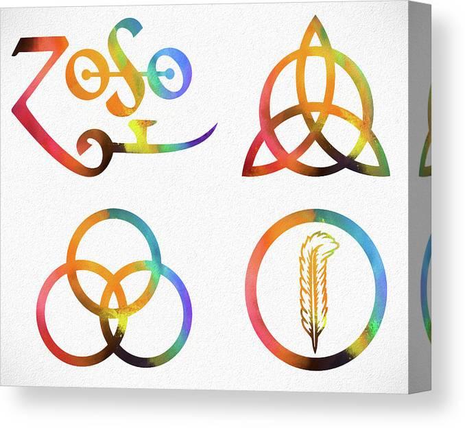 Colorful Zoso Symbols Canvas Print featuring the mixed media Colorful Zoso Symbols by Dan Sproul