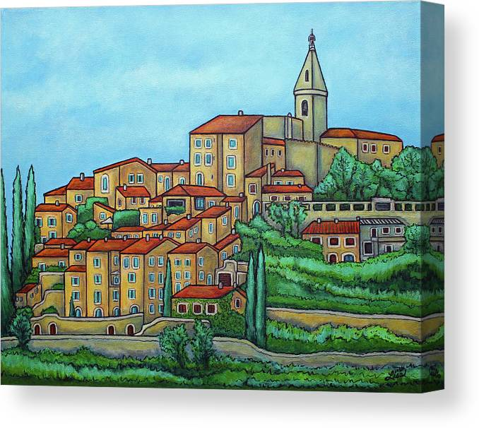 Provence Canvas Print featuring the painting Colours of Crillon-le-Brave, Provence by Lisa Lorenz