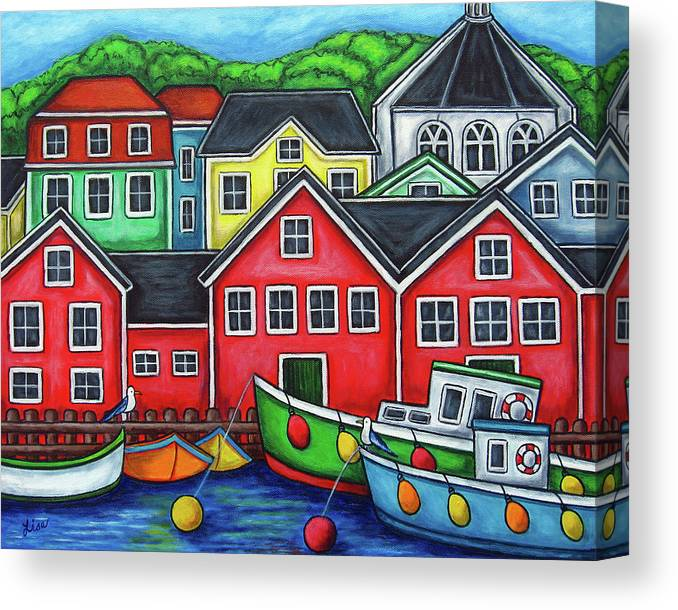 Nova Scotia Canvas Print featuring the painting Colours of Lunenburg by Lisa Lorenz