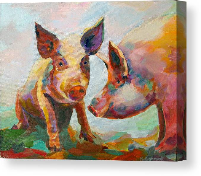 Pigs Canvas Print featuring the painting Consultation by Naomi Gerrard
