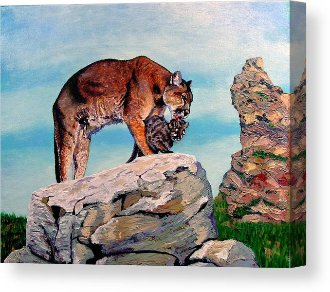 Cougar Canvas Print featuring the painting Cougar and Cub by Stan Hamilton