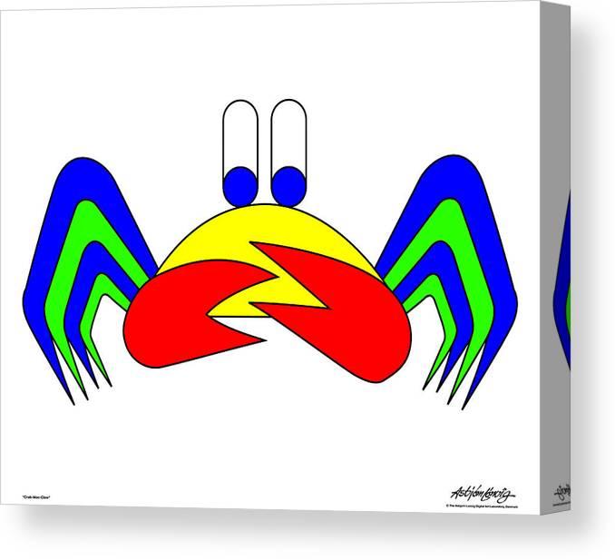 Canvas Print featuring the digital art Crab-Mac-Claw by Asbjorn Lonvig