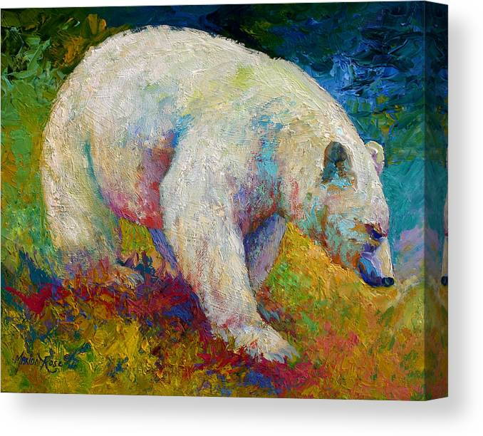 Western Canvas Print featuring the painting Creamy Vanilla - Kermode Spirit Bear Of BC by Marion Rose