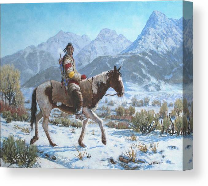 Crow Warrior Canvas Print featuring the painting Crow on the Yellowstone river by Scott Robertson