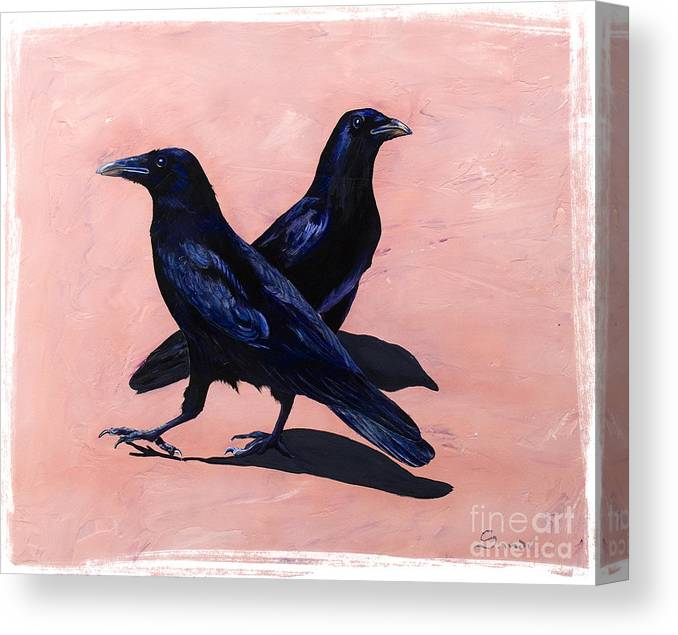 Crows Canvas Print featuring the painting Crows by Sandi Baker