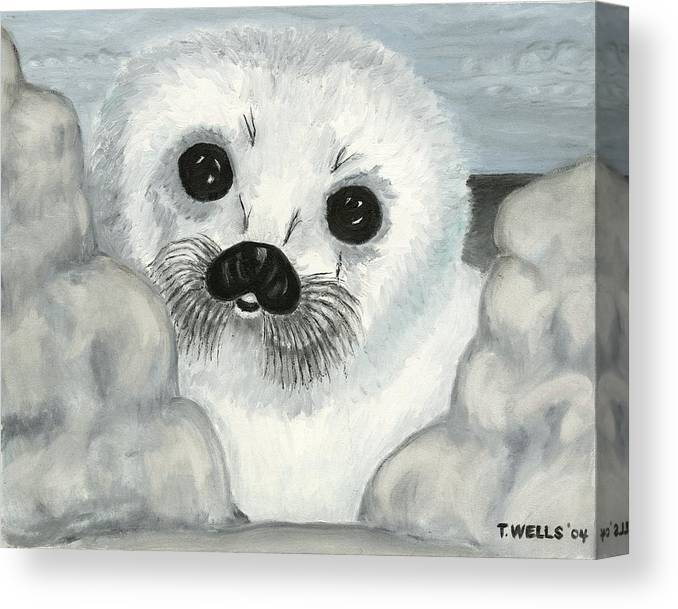 A Curious Arctic Seal Pup Peeking Through Icebergs Canvas Print featuring the painting Curious Arctic Seal Pup by Tanna Lee M Wells