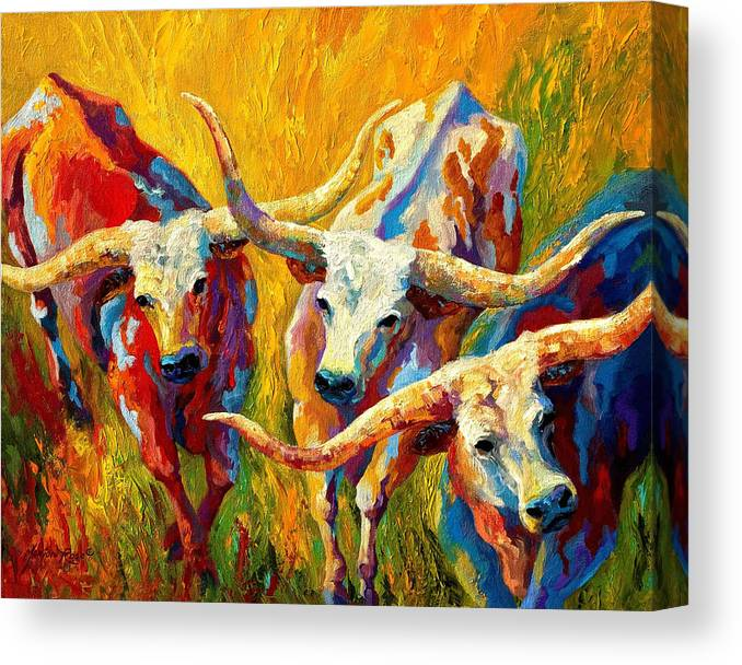 Western Canvas Print featuring the painting Dance Of The Longhorns by Marion Rose