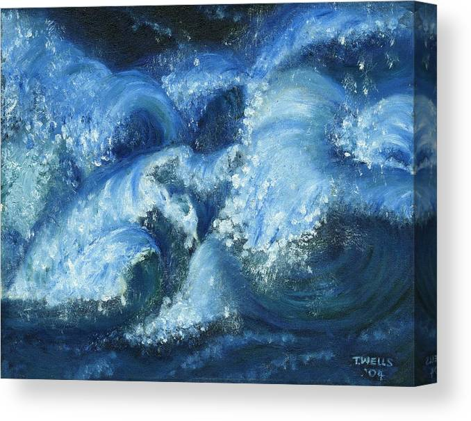 Strong Waves Painted In Blues And Tinges Of Green With Vibrant Color Canvas Print featuring the painting Dance of the Stormy Sea by Tanna Lee M Wells
