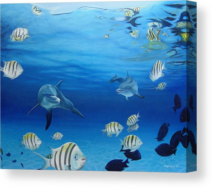 Seascape Canvas Print featuring the painting Delphinus by Angel Ortiz