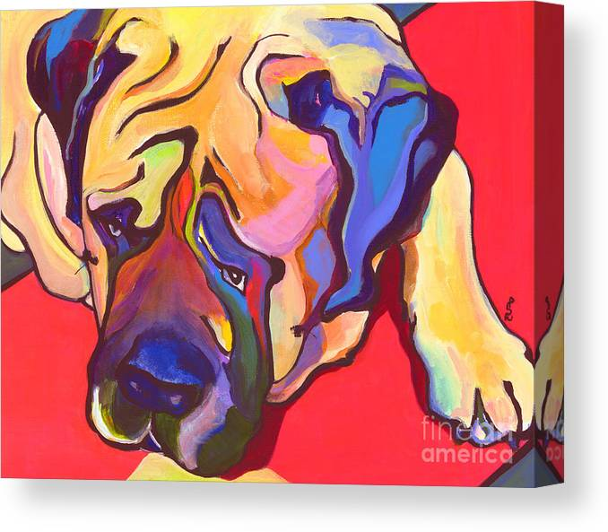 Mastiff Canvas Print featuring the painting Diesel  by Pat Saunders-White