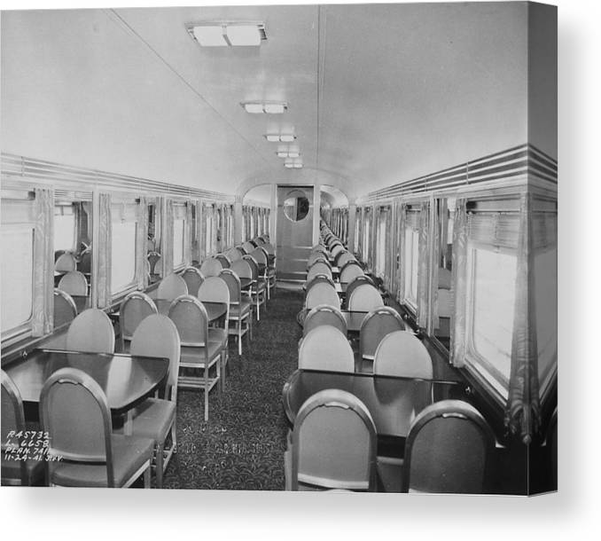 Passenger Cars Canvas Print featuring the photograph Dining Car Interior by Chicago and North Western Historical Society