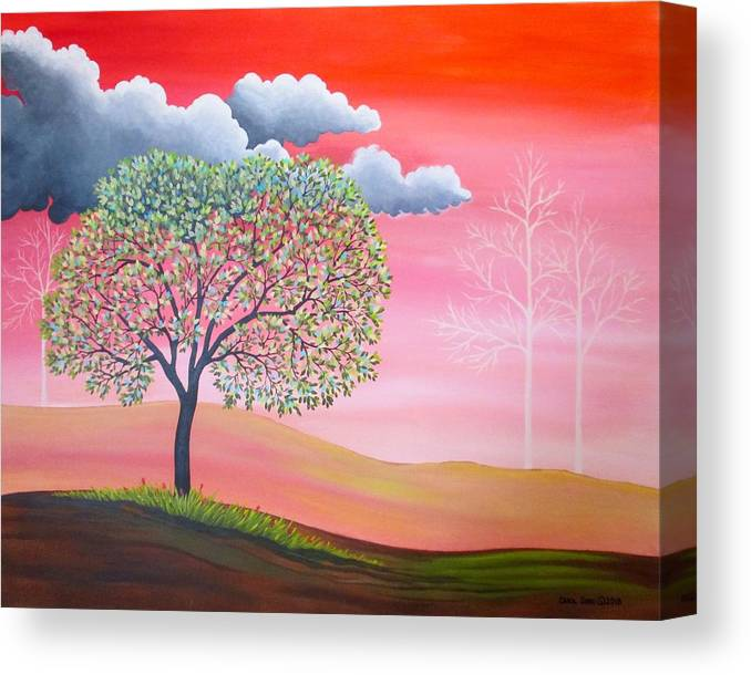 Clouds Canvas Print featuring the painting Don't Let the Clouds Steal Your Sunshine by Carol Sabo