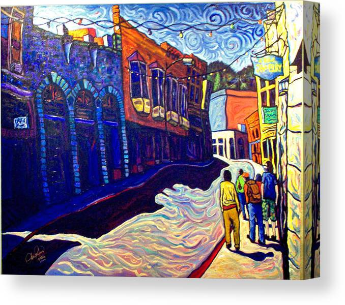 Downtown Canvas Print featuring the painting Downtown Bisbee by Steve Lawton