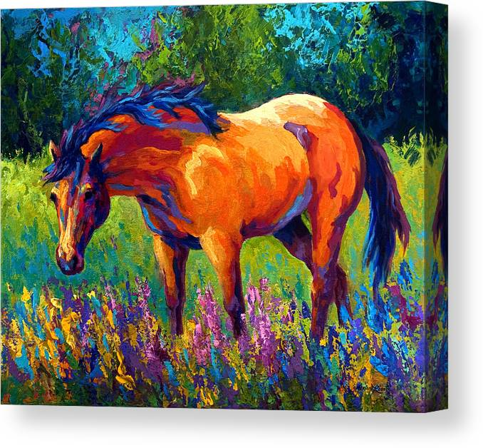 Horses Canvas Print featuring the painting Dun Mare by Marion Rose