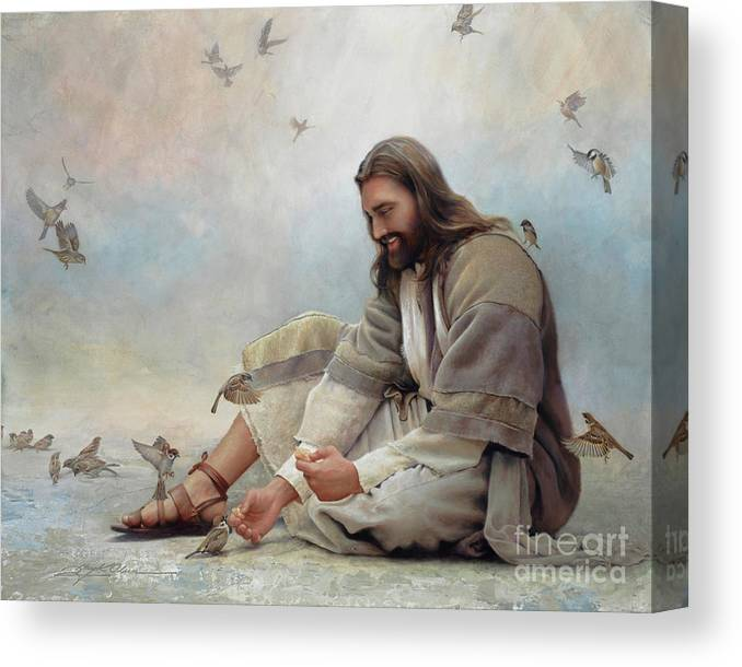 Jesus Canvas Print featuring the painting Even A Sparrow by Greg Olsen