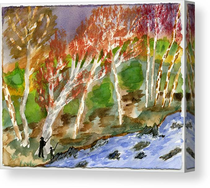 Watercolor Canvas Print featuring the painting Father And Son by Warren Thompson