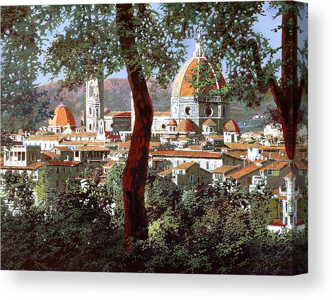 Landscape Canvas Print featuring the painting Firenze by Guido Borelli