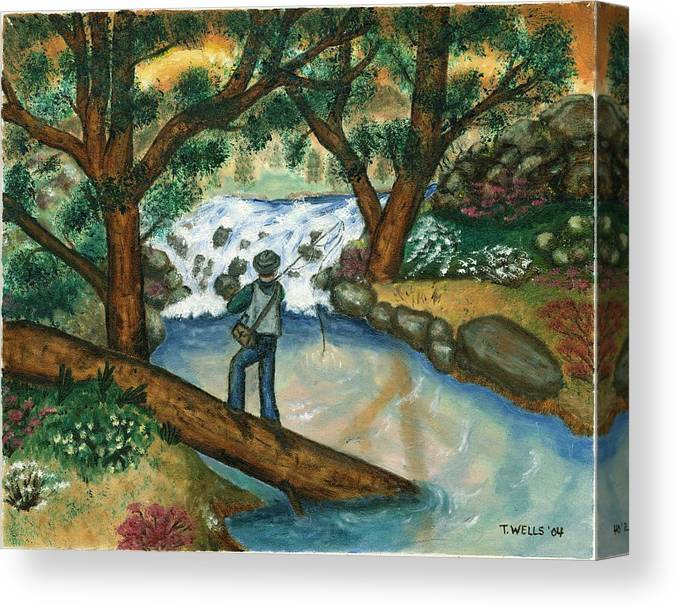 Fisherman Fly Fishing In A Sunny Stream Canvas Print featuring the painting Fishing the Sunny River by Tanna Lee M Wells