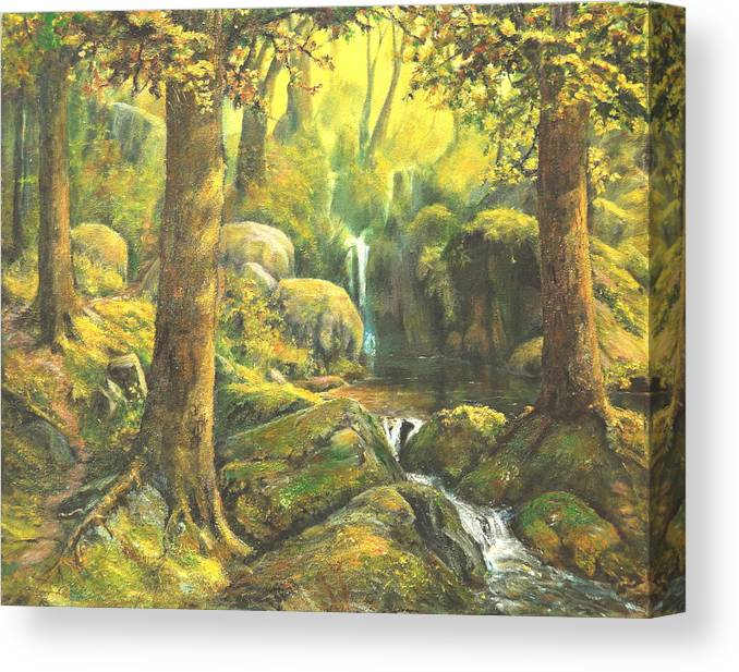 Landscape Canvas Print featuring the painting Forest Enchantment by Craig shanti Mackinnon