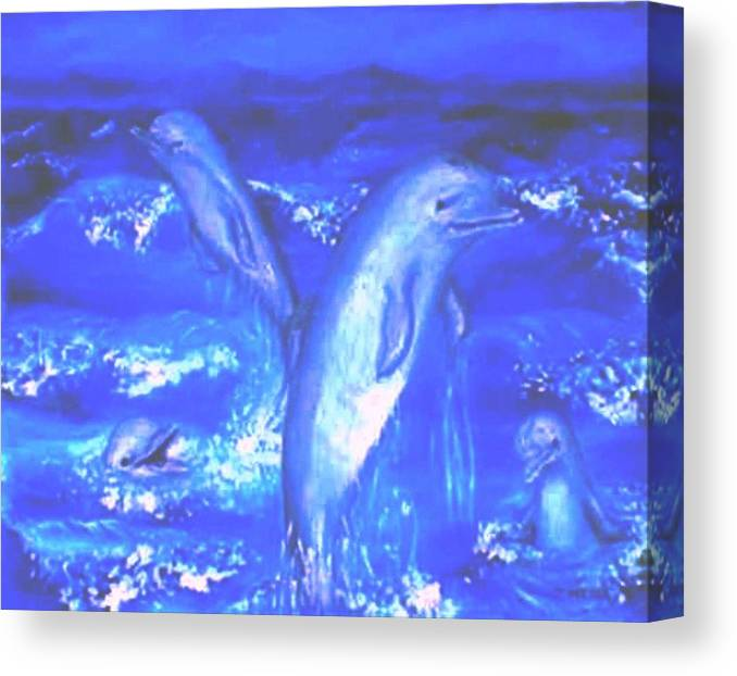 Dolphins Frolicking Ocean Blues Canvas Print featuring the painting Frolicking Dolphins by Tanna Lee M Wells