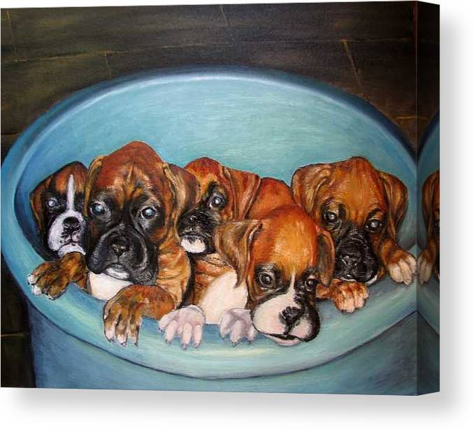 Oil Canvas Print featuring the painting Funny Puppies orginal oil painting by Natalja Picugina