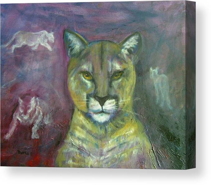 Wildlife Canvas Print featuring the painting Ghost Cat by Darla Joy Johnson