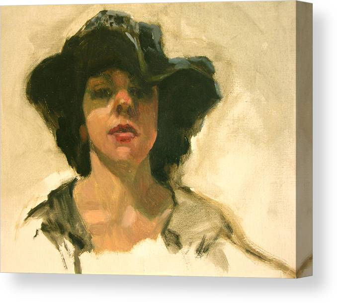 Portrait Canvas Print featuring the painting Girl In A Floppy Hat by Merle Keller