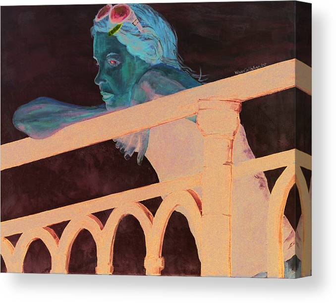 Amsterdam Canvas Print featuring the painting Girl on the Rail by Kevin Callahan