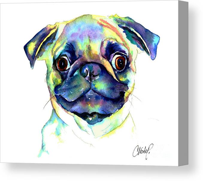 Pug Canvas Print featuring the painting Google Eyed Pug by Christy Freeman Stark