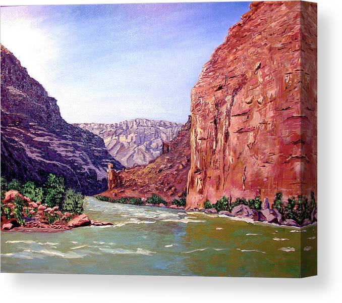 Original Oil On Canvas Canvas Print featuring the painting Grand Canyon I by Stan Hamilton