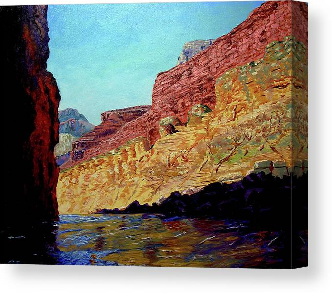 Original Oil On Canvas Canvas Print featuring the painting Grand Canyon III by Stan Hamilton