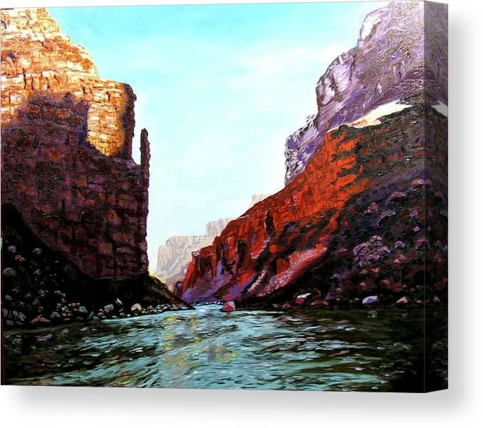 Original Oil On Canvas Canvas Print featuring the painting Grand Canyon IV by Stan Hamilton