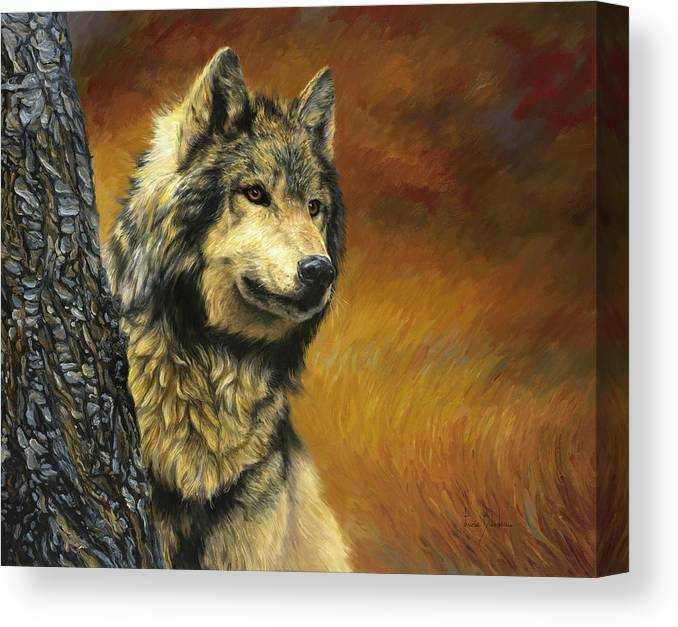 Wolf Canvas Print featuring the painting Gray Wolf by Lucie Bilodeau