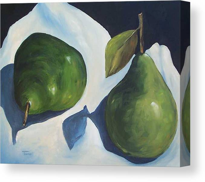 Green Pears Canvas Print featuring the painting Green Pears on Linen - 2007 by Torrie Smiley