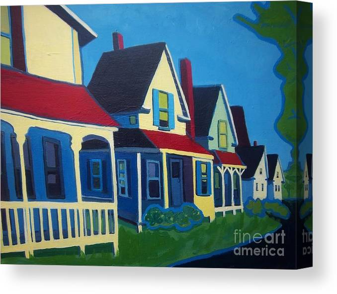 Maine Canvas Print featuring the painting Harpswell Cottages by Debra Bretton Robinson