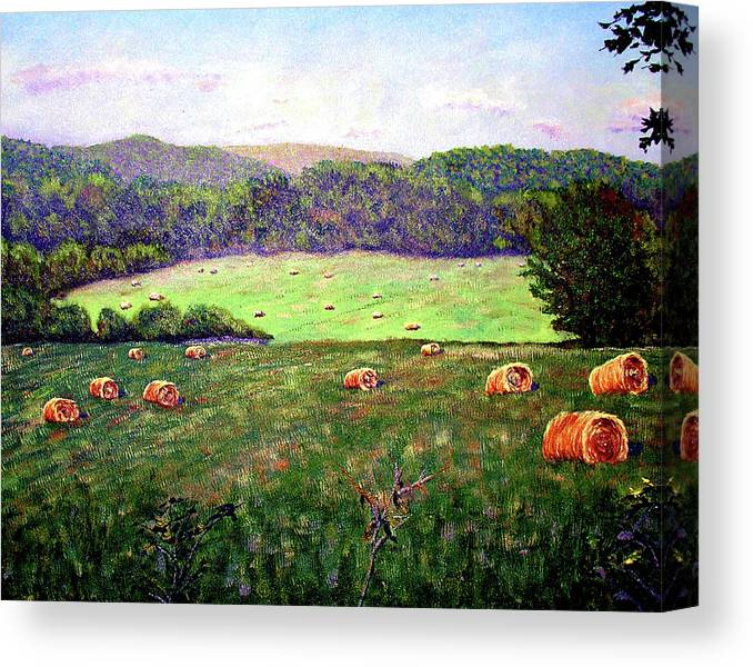 Original Oil On Canvas Canvas Print featuring the painting Hay Field by Stan Hamilton